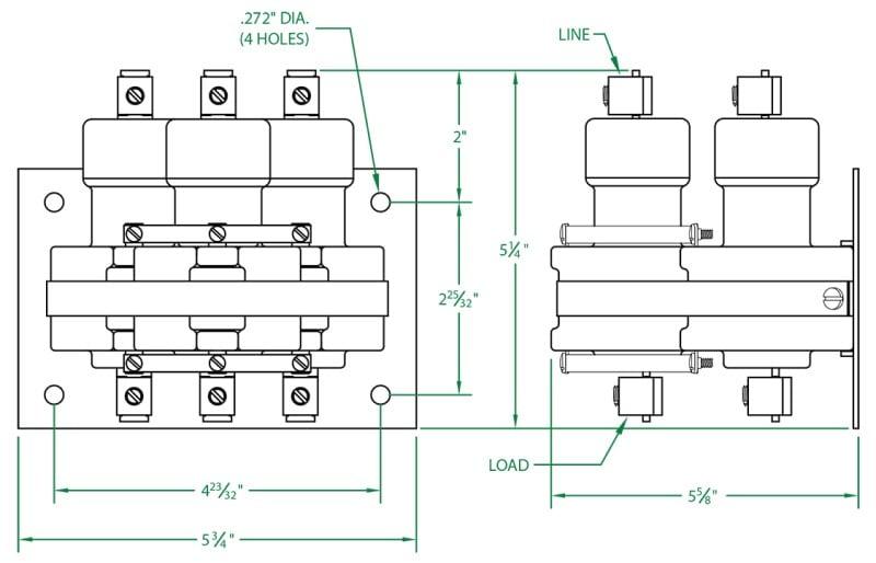 100 Amp 3 Pole, 120VAC holding coil mercury displacement relay  3100NO-120A-18 | Gordo Sales, Inc. | Mercury Contactor Wiring Diagram |  | Gordo Sales